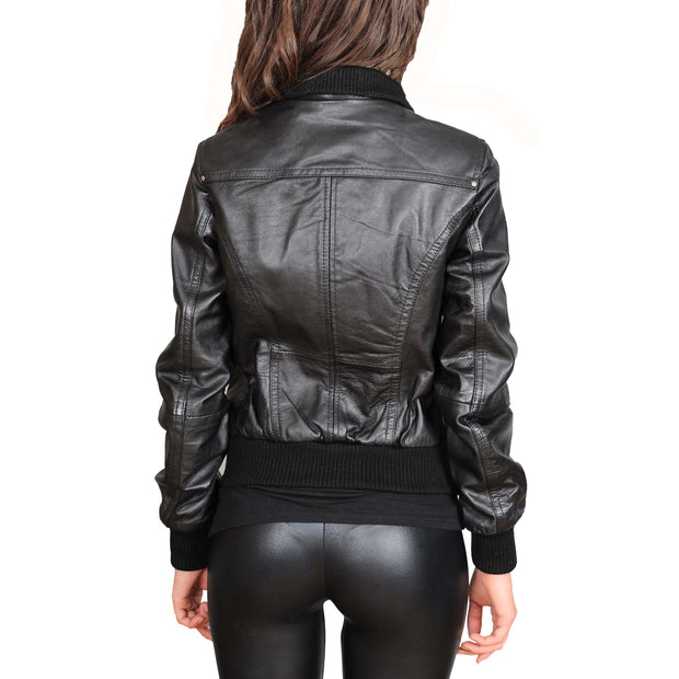 Womens Slim Fit Bomber Leather Jacket Cameron Black back view