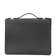 Black Leather A4 Ring Binder File Folio Office Bag Zip Organiser Braga Front 1
