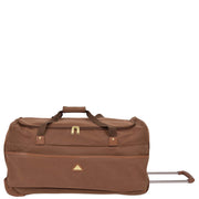 "Wheeled Holdall 30"" Large Camel Faux Leather Travel Duffle Bag Swoose Front With Handle"