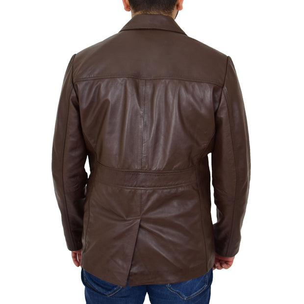 Mens Casual Leather Jacket Hip Length Brown Reefer Blazer Coat Harold Back
