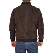 Mens Soft Goat Suede Bomber Varsity Baseball Jacket Blur Brown Back