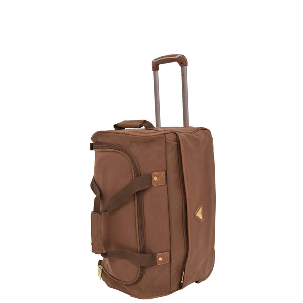 "Wheeled Holdall 21"" Medium Camel Faux Leather Travel Duffle Bag Norge Front Stand"