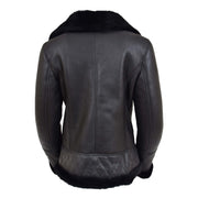 Super Luxurious Womens Real Sheepskin Jacket Aviator Coat Alexa Black Back