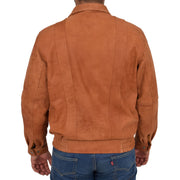 Mens Classic Bomber Nubuck Leather Jacket Alan Tan back view