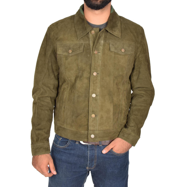 Mens Real Soft Goat Suede Trucker Denim Style Jacket Chuck Green Front 1
