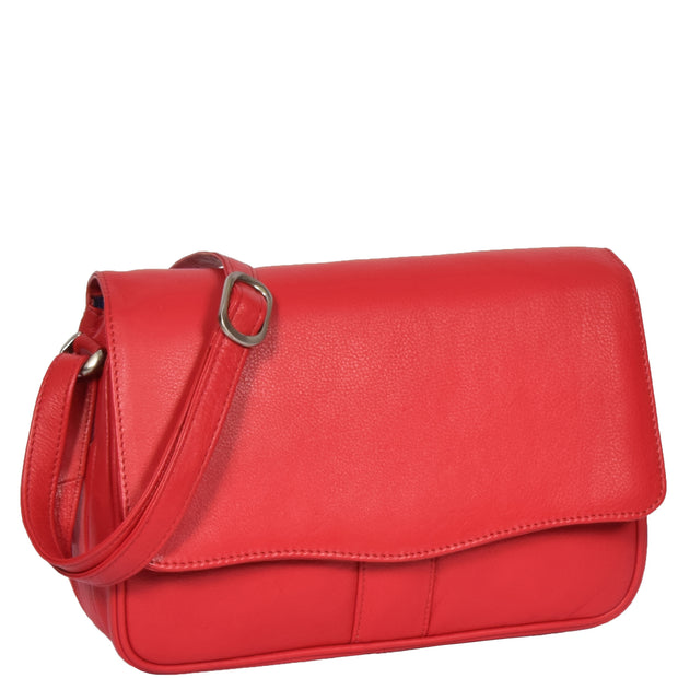Womens Red Leather Shoulder Messenger Handbag Ada Front Angle