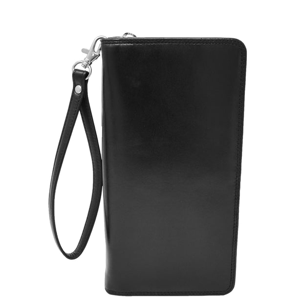 Real Italian Leather Travel Passport Wallet Boarding Pass Clutch Purse AVM10 Black Front