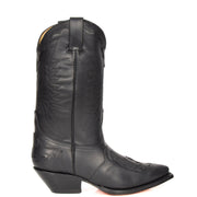 Real Leather Pointed Toe Cowboy Boots AZ350 Black Side 1