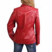 Womens Classic Fitted Biker Real Leather Jacket Nicole Red Back