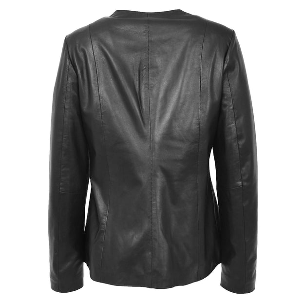Womens Collarless Black Leather Jacket Round Neck Semi Fit Chelo Back
