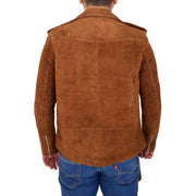 Genuine Suede Leather Biker Jacket For Mens Fitted Brando Coat Jay Cognac Back