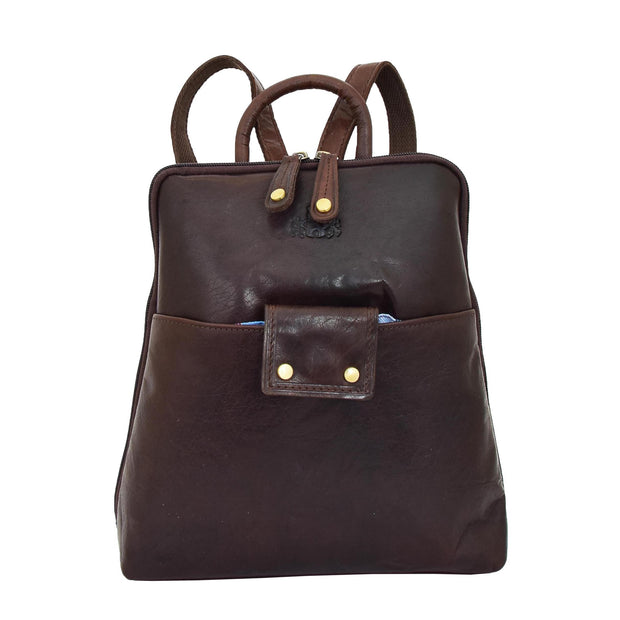 Womens Backpack Brown LEATHER Rucksack Travel Organiser Evie Front
