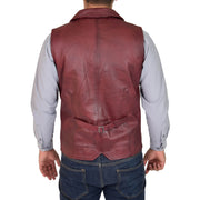 Mens Genuine Soft Leather Waistcoat Western Vest Yelek Rhys Burgundy Back