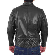 Mens Soft Leather Biker Jacket High Quality Quilted Design Tucker Black Back