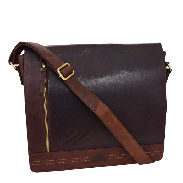 Mens Messenger Leather Bag Casual Office Students Man Bag Barney Brown