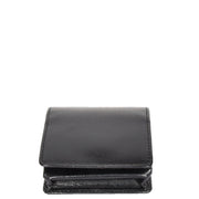 Real Leather Coin Tray Wallet Loose Change Case Black AV21 Front