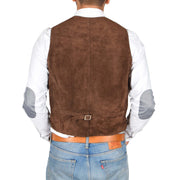 Mens Real Suede Leather Waistcoat Classic Vest Gilet Cole Brown Back