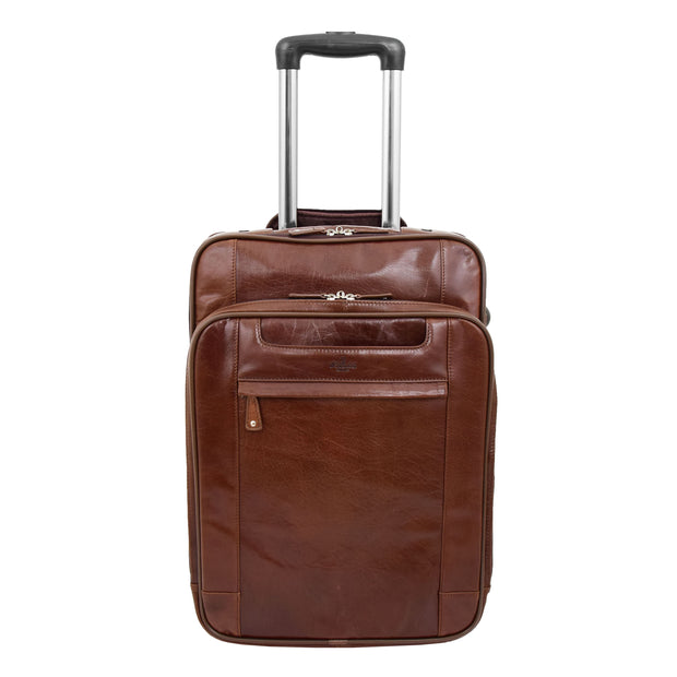 Luxurious Brown Leather Cabin Size Suitcase Hand Luggage Beverley Hills Front 1