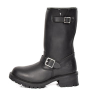 Real Leather Round Toe Buckle Design Biker Boots ATB45H Black Side 1