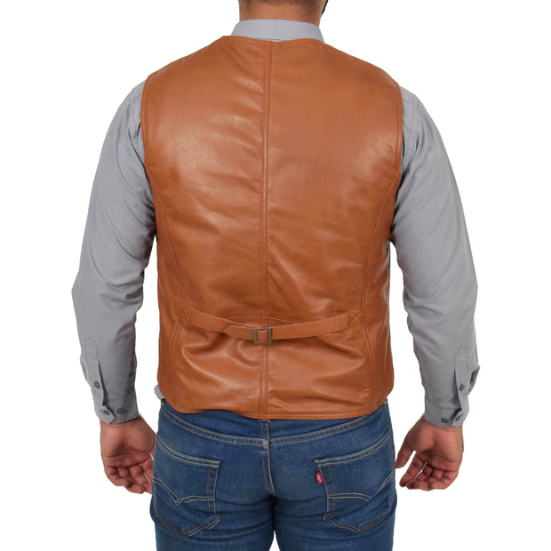 Mens Soft Leather Waistcoat Classic Gilet Bruno Tan back view