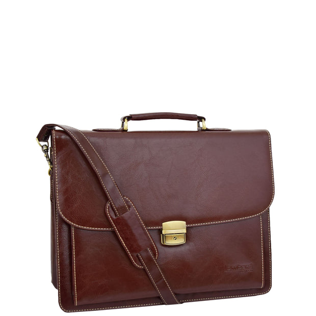 Mens pu Leather Briefcase Brown Laptop Bag A4 Office Business Satchel Andy Front 3
