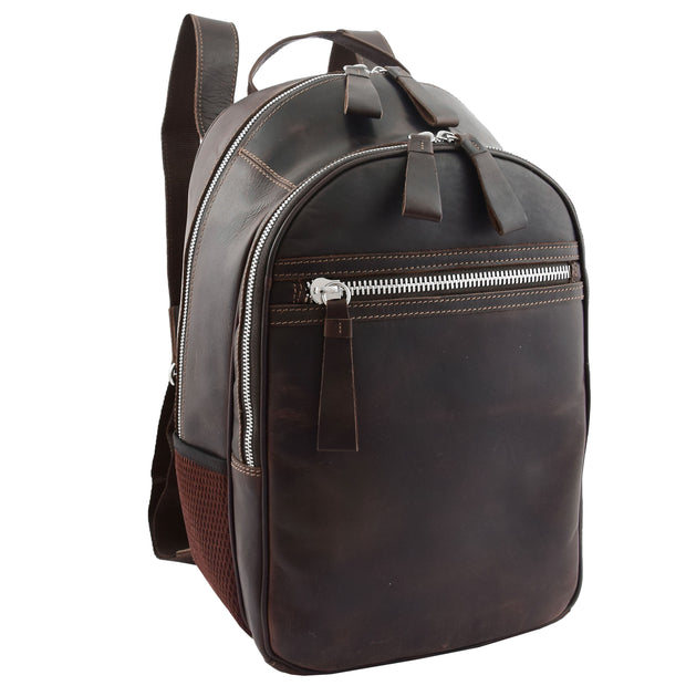 High Quality Genuine Brown Leather Backpack Large Size Work Casual Travel Bag Trek