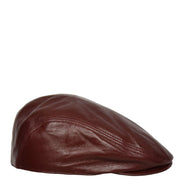 Genuine Burgundy Leather Flat Cap English Granddad Baker-boy Hat Arthur Side