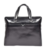 Italian Leather Black Briefcase Messenger Business Bag Denver Front