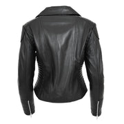 Womens Designer Leather Biker Jacket Fitted Quilted Coat Bonita Black Back