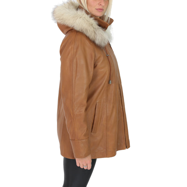 Womens Zip up Detachable Hood Parka Duffle Leather Coat Isabella Tan Side