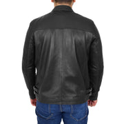 Mens Fitted Black Leather Biker Jacket Zip Fasten Brock Back