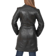 Womens 3/4 Button Fasten Leather Coat Cynthia Black back view