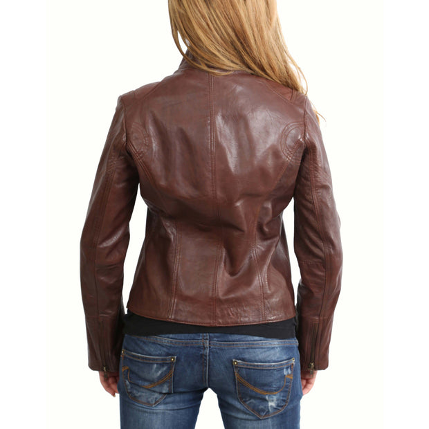 Womens Fitted Leather Biker Jacket Casual Zip Up Coat Jenny Brown Back