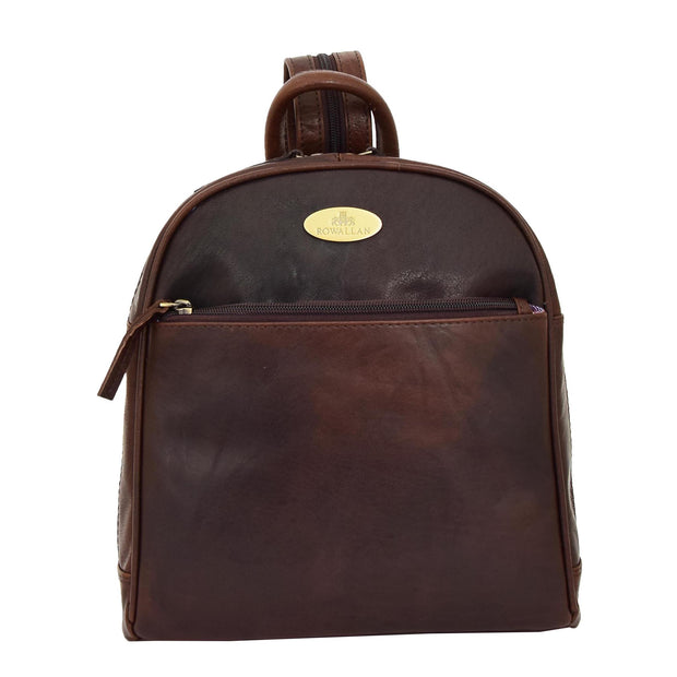 Womens Backpack Brown LEATHER Rucksack Organiser Bag Harper Front
