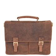 Mens REAL Leather Briefcase Vintage Look Satchel Shoulder Bag A167 Tan Front
