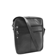 Mens Real Leather Shoulder Bag Cross Body Flight Pouch A155 Black Front 2