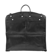 Exclusive Leather Slimline Travel Garment Bag Suit Carrier Dress Cover Remy Black Back