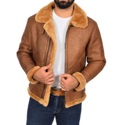 Authentic Aviator Coat Real Sheepskin Vintage Tan Bomber Jacket Tornado Open 2