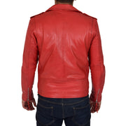 Mens Brando Biker Leather Jacket Elvis Red back