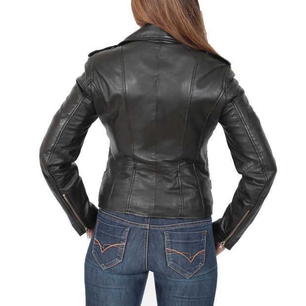 Womens Fitted Trendy Biker Leather Jacket Beyonce Black back