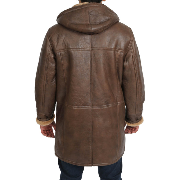 Mens Genuine Sheepskin Duffle Coat 3/4 Long Hooded Jacket Mitchel Brown Back 1