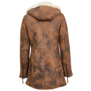 Womens Real Sheepskin Duffle Coat Hooded Shearling Jacket Armas Cognac Back