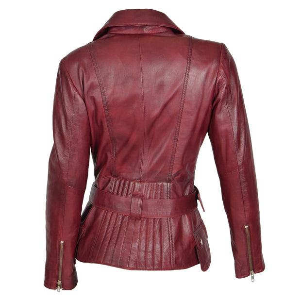 Womens Biker Leather Jacket Slim Fit Cut Hip Length Coat Coco Burgundy Back