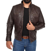 Mens Genuine Leather Biker Jacket Fitted Zip Up Coat Felix Brown