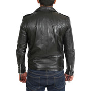 Mens Brando Biker Leather Jacket Elvis Black back