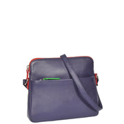 Womens Soft Leather Cross Body PURPLE Sling Shoulder Bag Polly