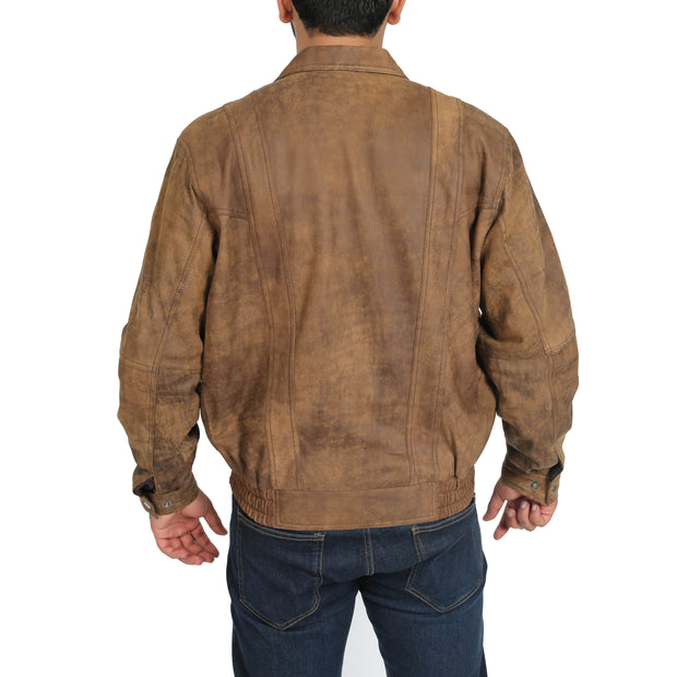 Mens Classic Bomber Nubuck Leather Jacket Alan Brown back view