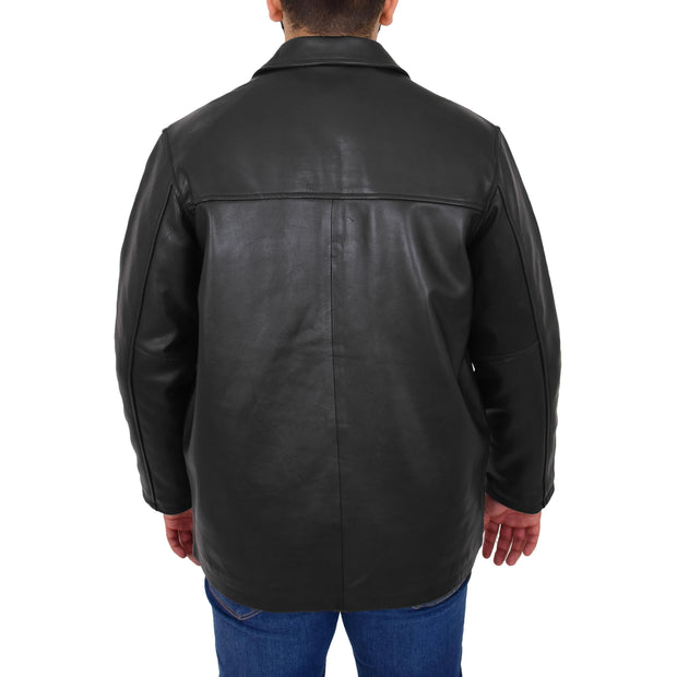 Gents Real Leather Button Box Jacket Classic Regular Fit Coat Luis Black Back