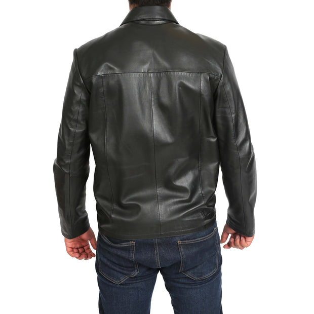 Mens Classic Zip Fasten Box Leather Jacket Tony Black back view