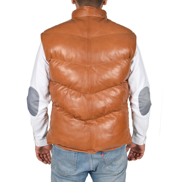 Mens Quilted Leather Waistcoat Body Warmer Gilet Jeff Tan Back